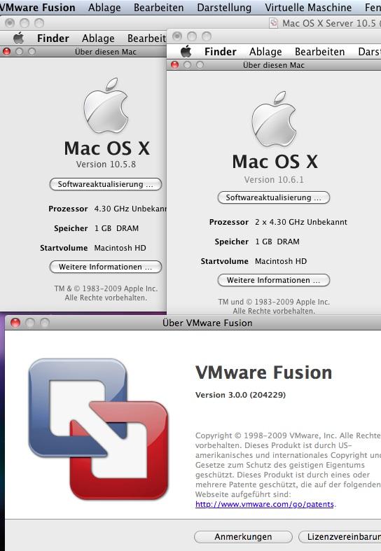 Leopard und Snow Leopard Client unter VMware Fusion 3.0