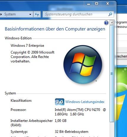 Windows 7 auf einem Eee PC 901 / Go