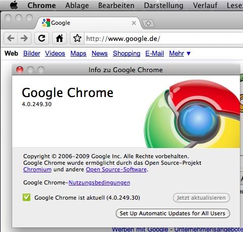 Google Chrome 4.0.249.30 für Mac OS X
