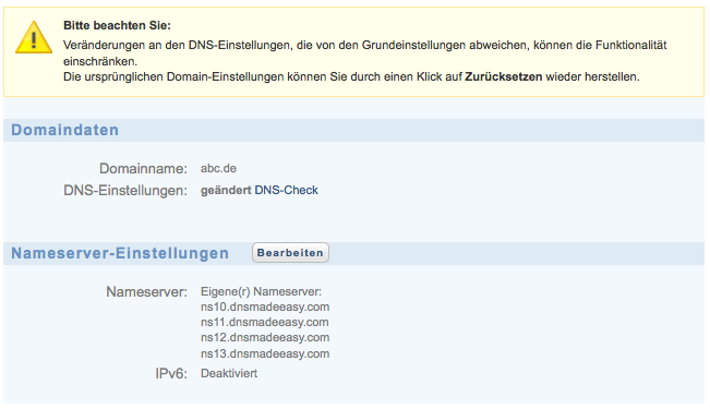 1&1 DNS mit DNS Made Easy als externem DNS-Server