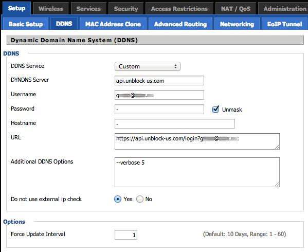 Unblock-US DDNS-Konfiguration mit dd-wrt