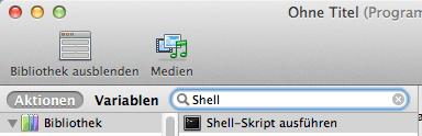 Automator – Shell-Skript ausführen