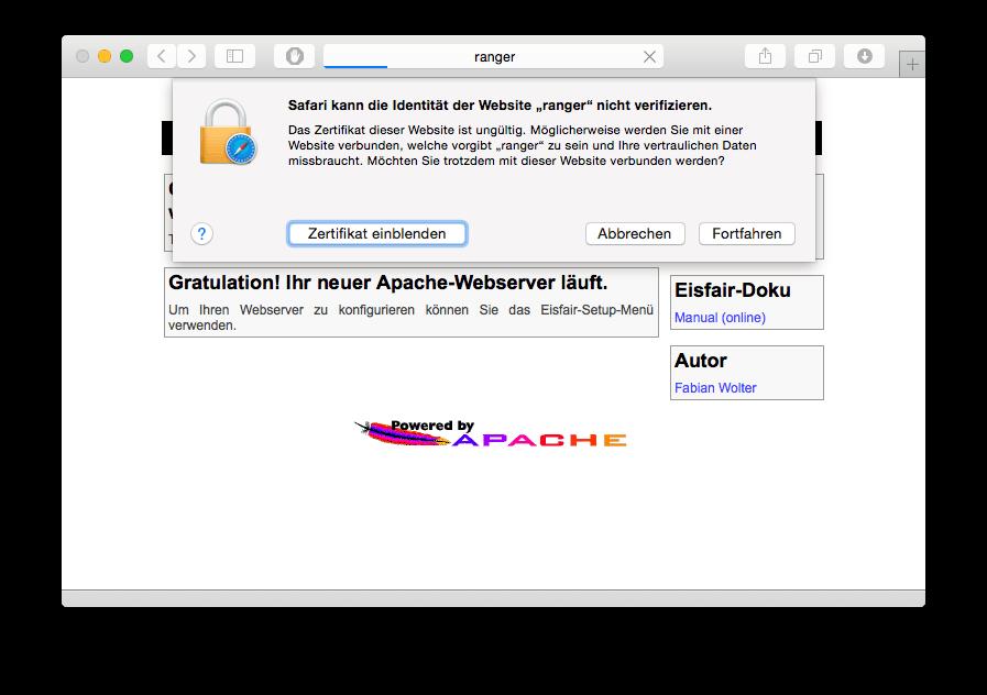 Safari Zertifikat-Meldung
