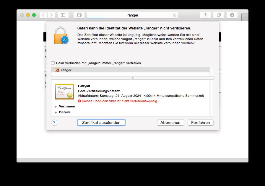 Safari Zertifikat anzeigen