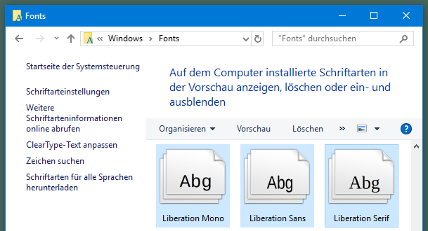 LibreOffice Fonts unter Windows