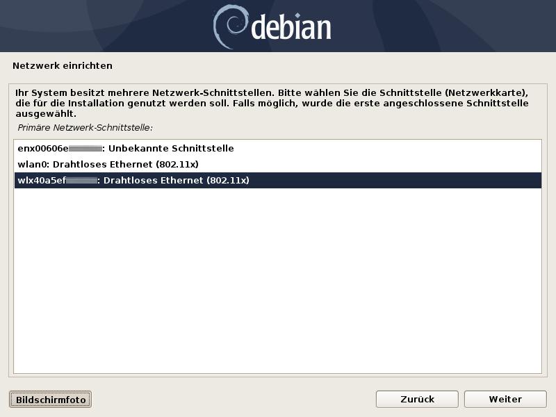 Debian 10 –erkannte Netzwerkhardware